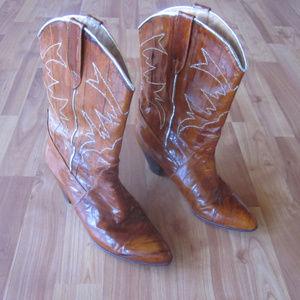 Vintage Saffron Full Eel Skin Boots Size 7